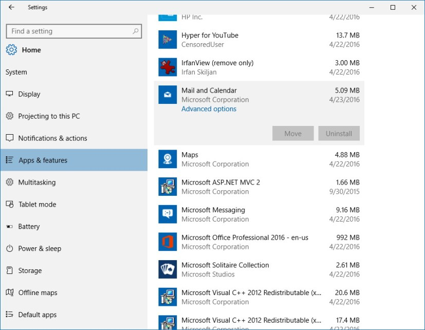 Advanced options for Windows 10 apps