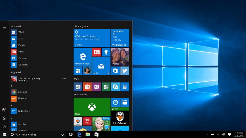 New Start menu for Windows 10 Anniversary Update