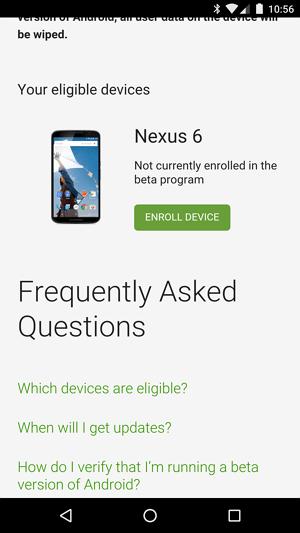 Android N beta enroll