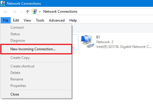 New Incoming Connection option on Windows 10