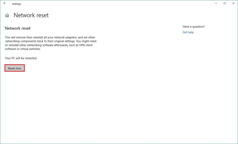 Reset network adapter settings on Windows 10