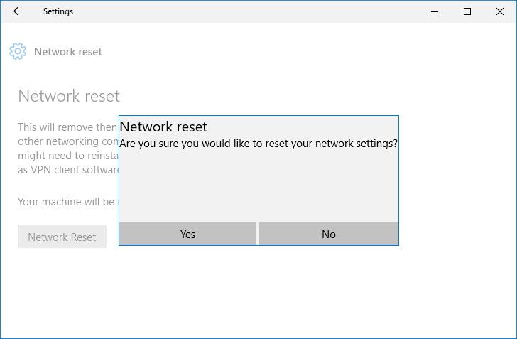 Reset network settings on Windows 10