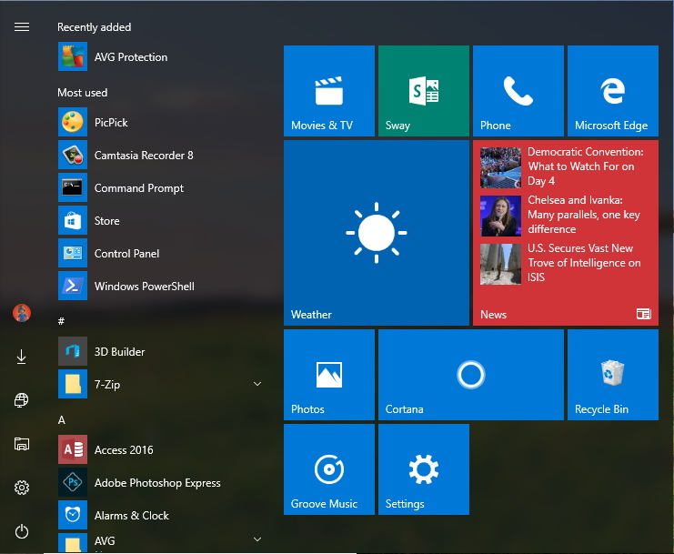 Chaseable Live Tiles on the Start menu on Windows 10