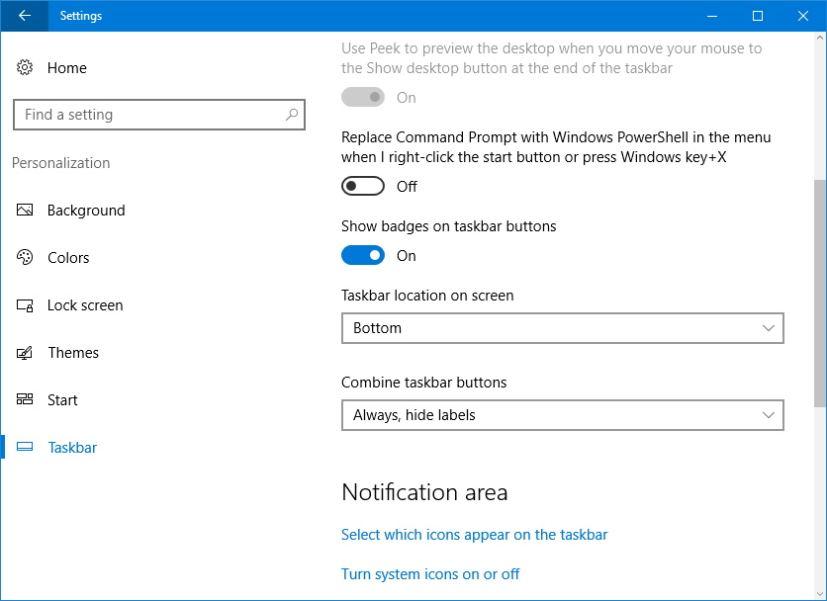 Disable badge notifications on taskbar buttons