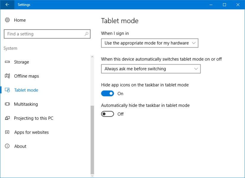 Hide taskbar on tablet mode on Windows 10 Anniversary Update