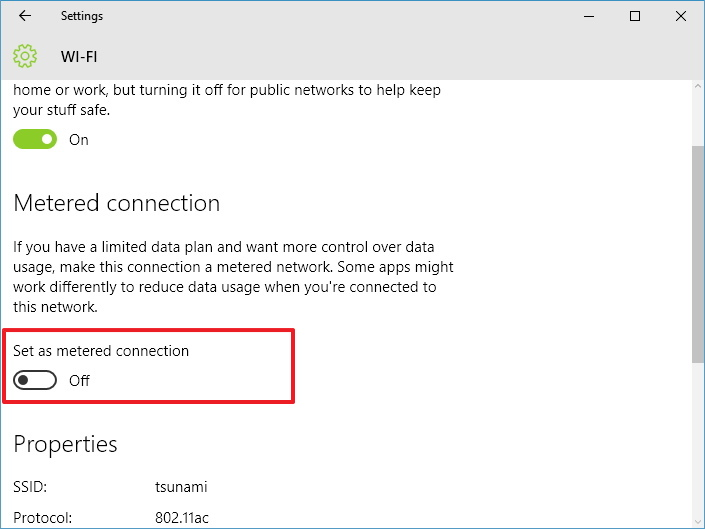 Set as metered connection option on Windows 10