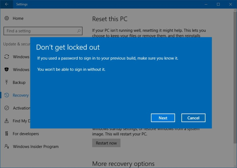 Step - Don't get locked out get your password to sign back in after removing the Fall Creators Update