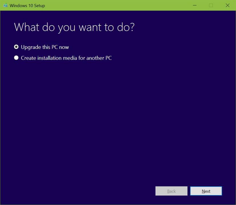 Upgrade this PC now option Windows 10 Anniversary Update