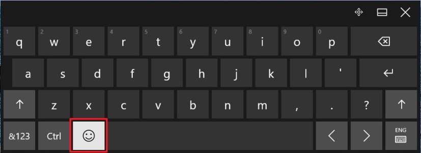 Emoji touch keyboard icon on Windows 10