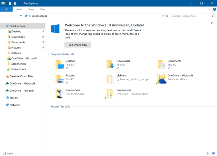 File Explorer notifications on Windows 10 Redston 2 (build 14901)