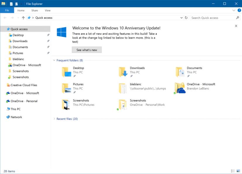File Explorer notifications on Windows 10 Redston 2 (build 14901)