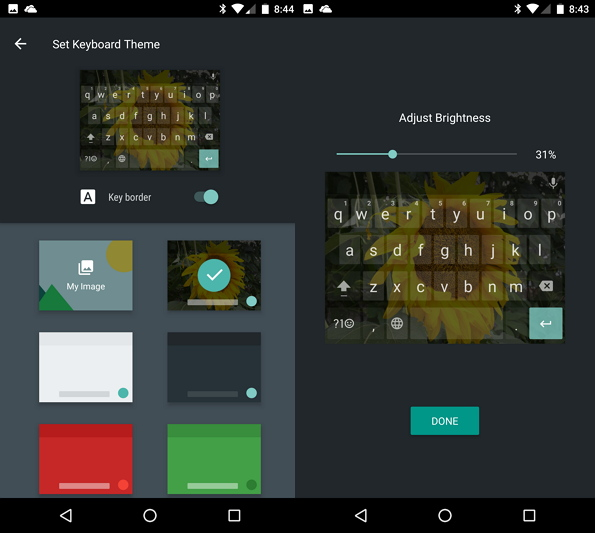 Google Keyboard theme image and color settings Android