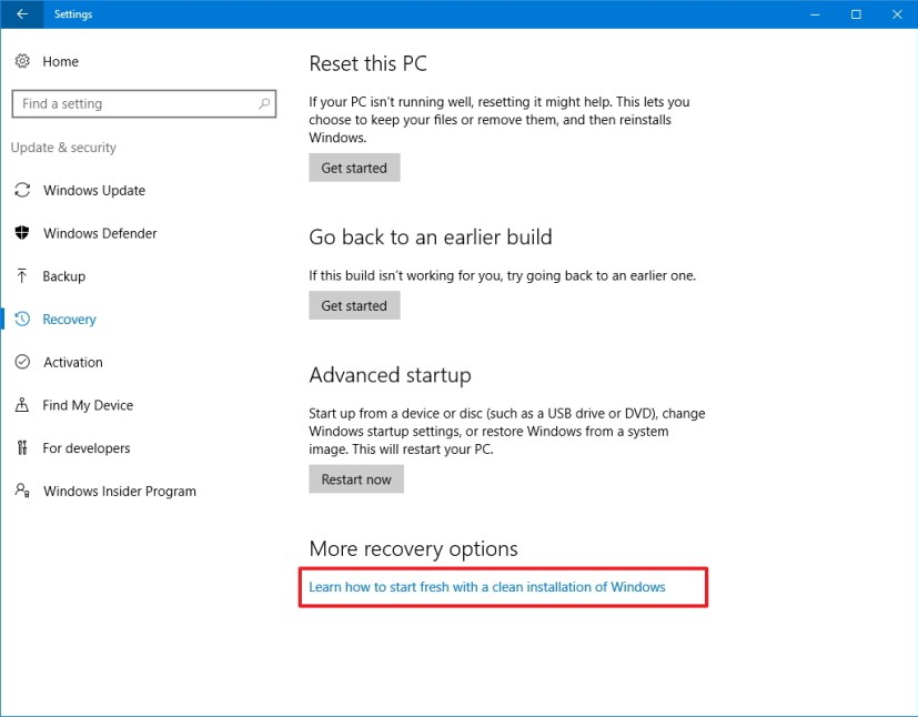 Windows 10 Recovery option to start fresh with a clean installation