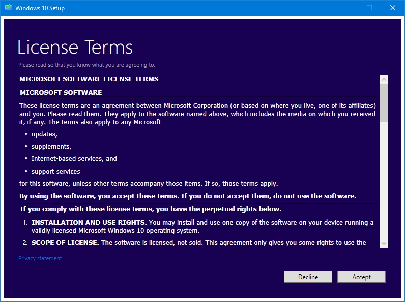 Windows 10 installation licensing terms
