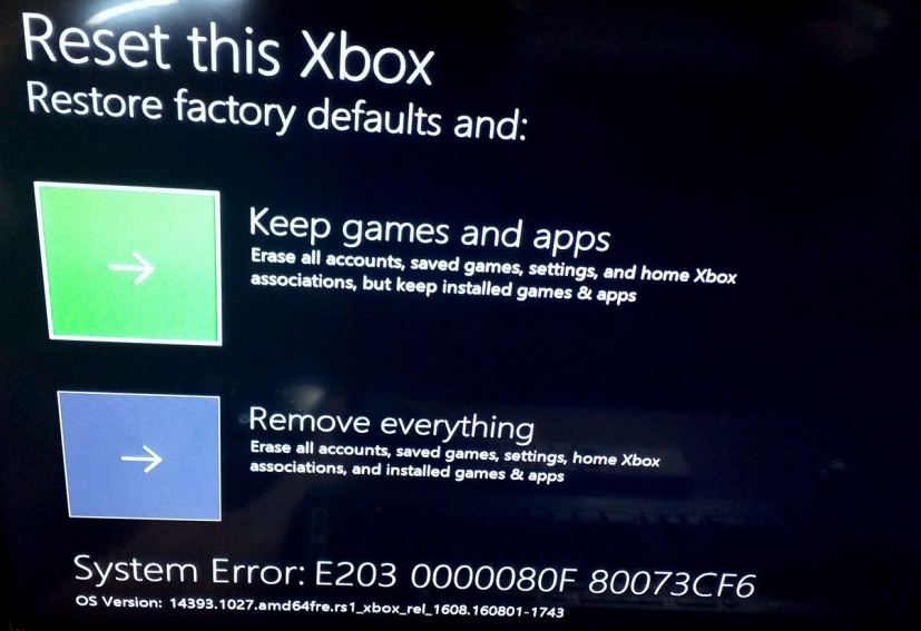 How to fix E203 system error message on Xbox One ...