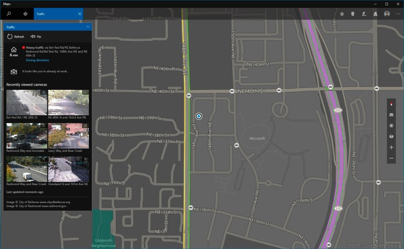 Maps app with dark mode for Windows 10 Redstone 2