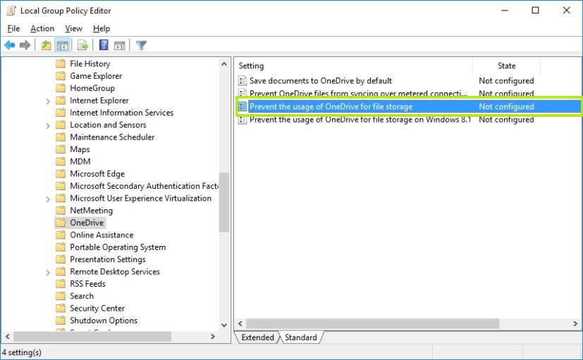OneDrive Group Policy options