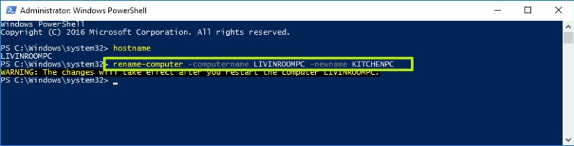 Rename your Windows 10 PC using PowerShell