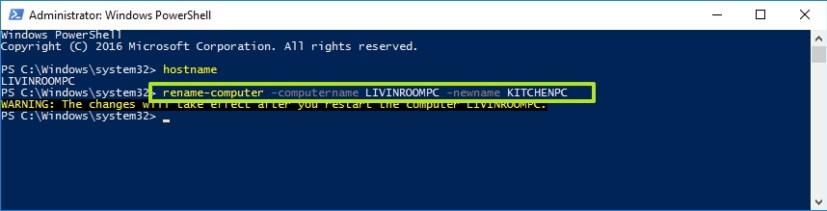 Rename your Windows 10 PC using PowerShell