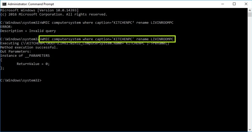 Rename your Windows 10 PC using Command Prompt
