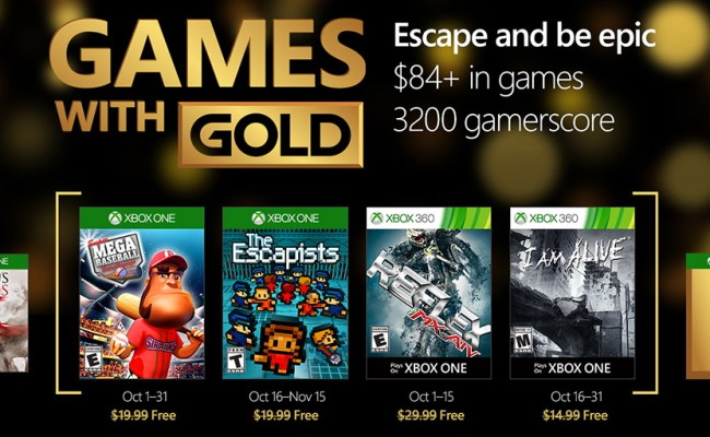 Xbox Free Games With Gold For October 2016 Pureinfotech