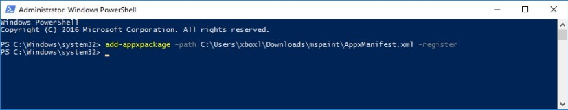 PowerShell command to install unsigned appx package on Windows 10