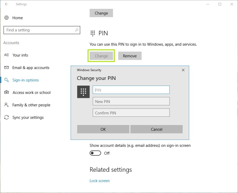Change PIN on your Windows 10 account