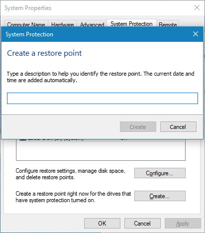 Create System Restore point