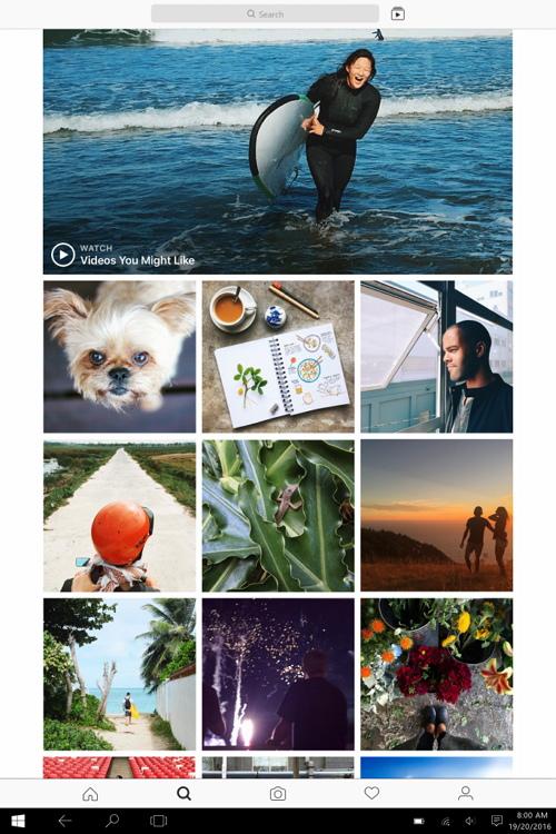 Instagram app running on Windows 10 tablet
