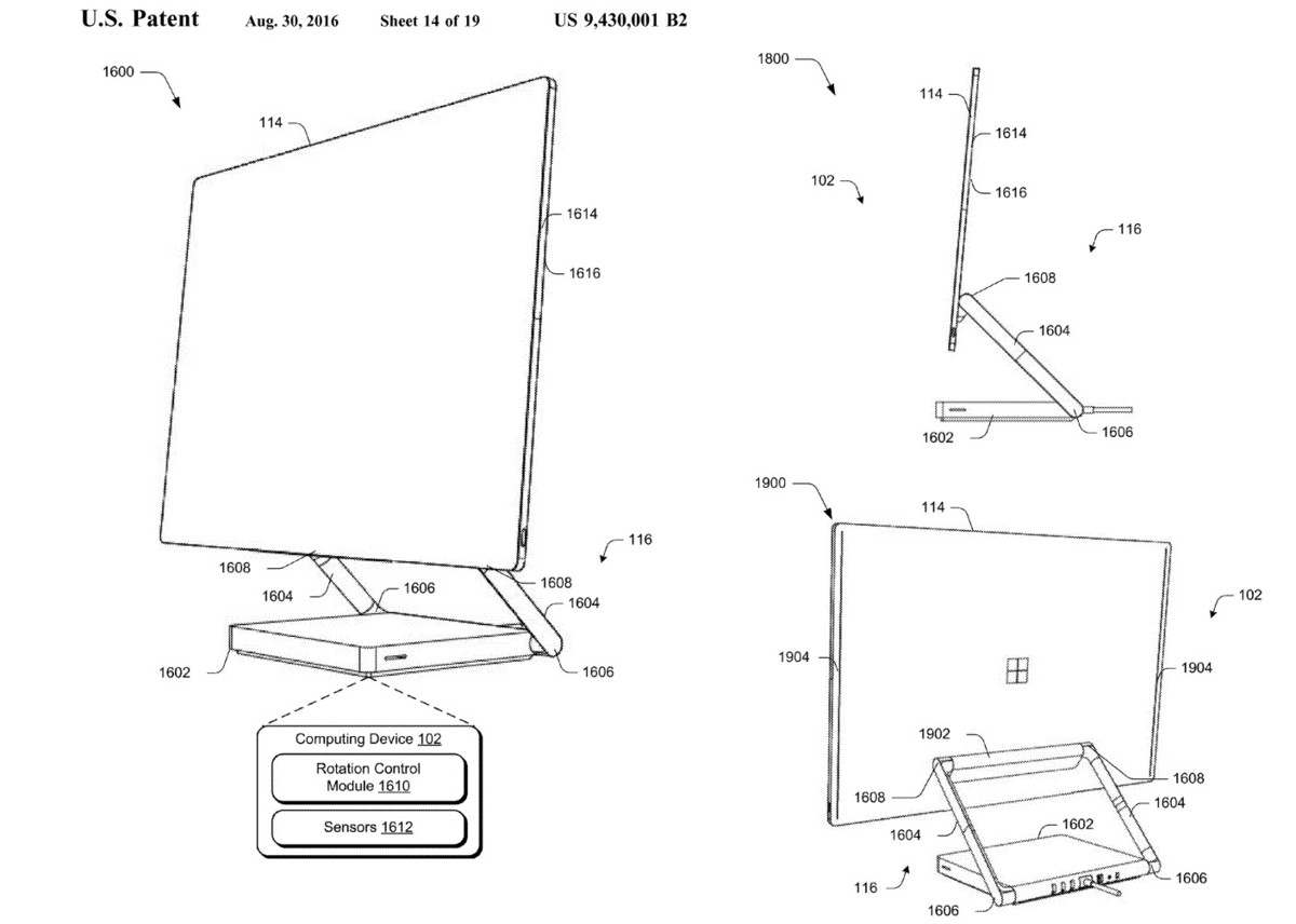 Surface All-in-One PC design (patent)