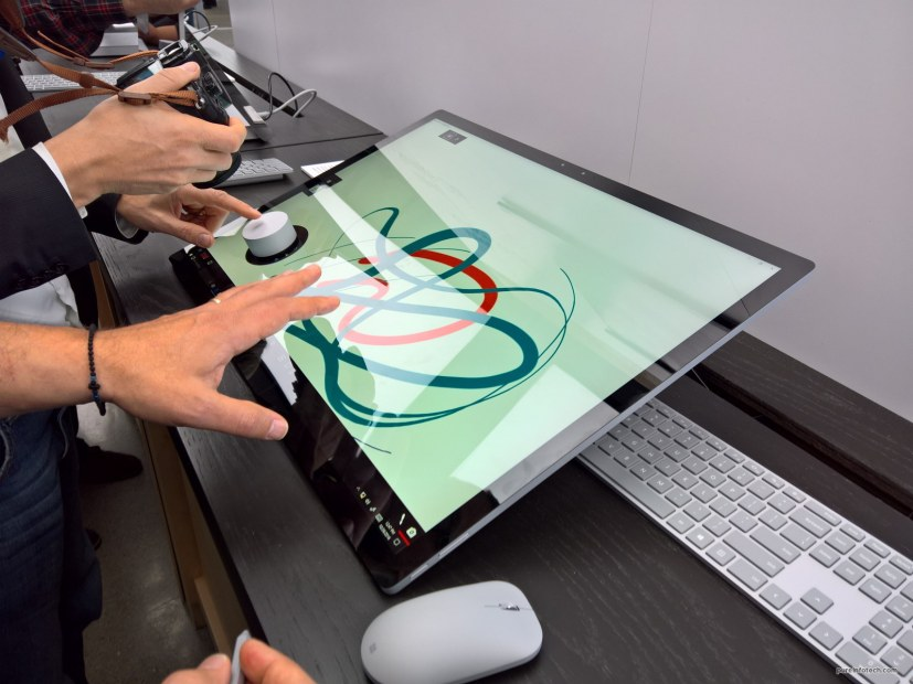 Surface Dial on the Surface Studio screen