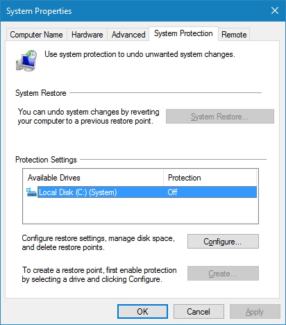 System Restore point settings