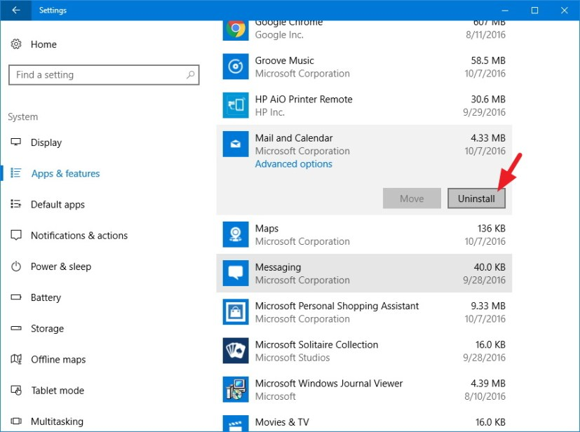Mail and Calendar app now with uninstall option on Windows 10