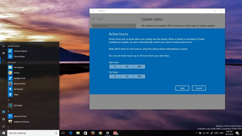 Windows 10 build 14942 (Redstone 2)