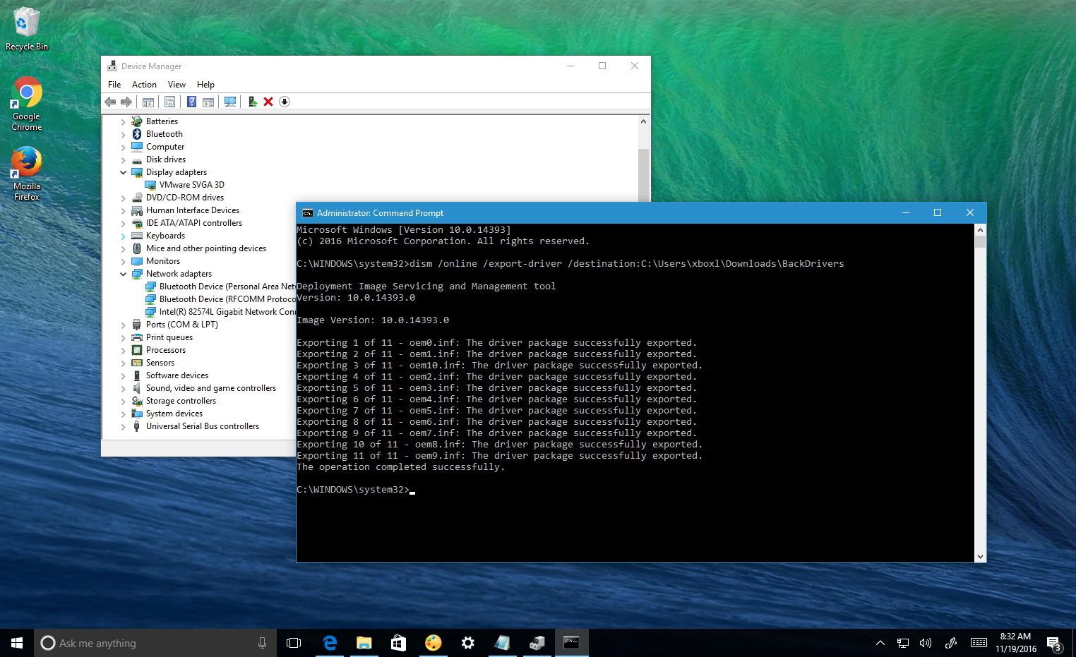 Backup drivers on Windows 10