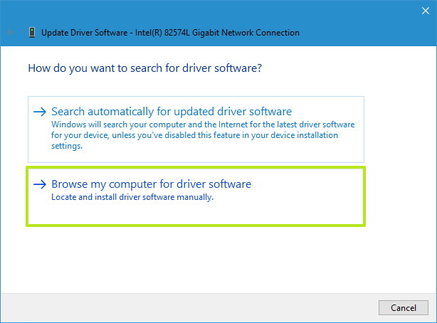 Device Manager browse driver folder