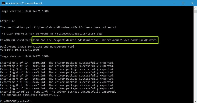 DISM command to export drivers on Windows 10