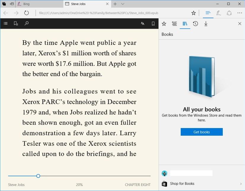 Ebooks on Microsoft Edge