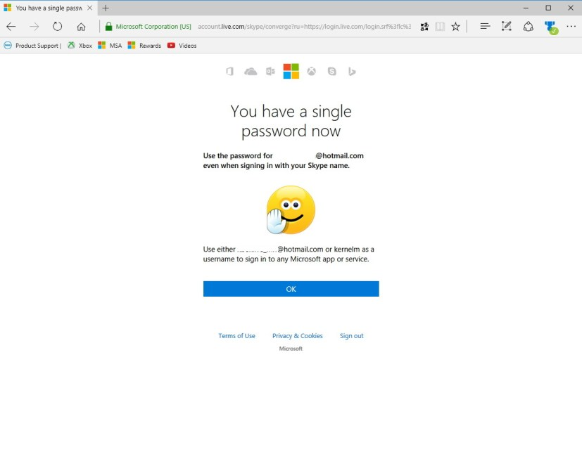 Complete Skype and Microsoft account merge