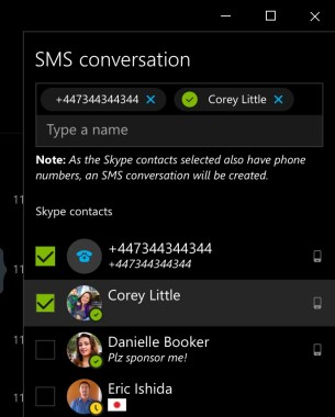 skype sms on windows 10 pc