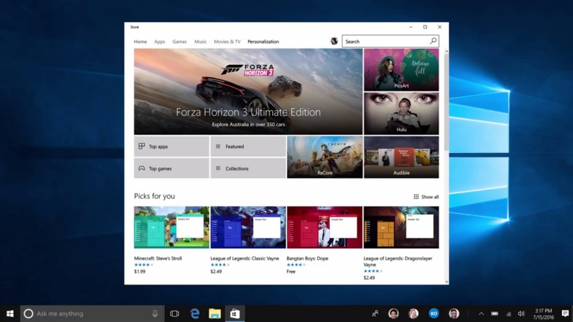 Windows Store Personalization section with free and paid themes