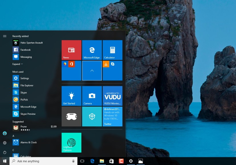Start menu tile folders