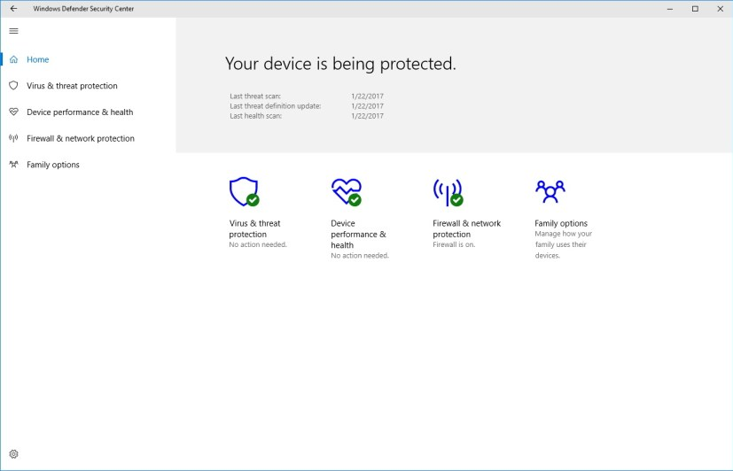 Windows Defender Security Center main page
