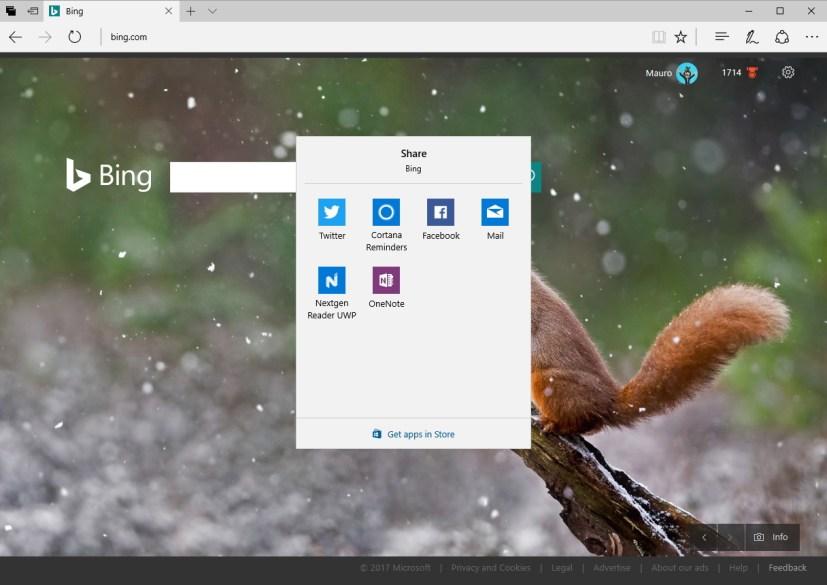 Windows Share experience