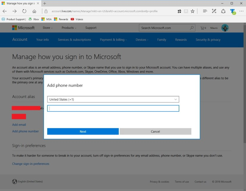 Add phone number as alias on a Microsoft account