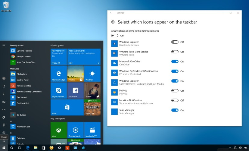 Customize which icons appear on the Windows 10 taskbar