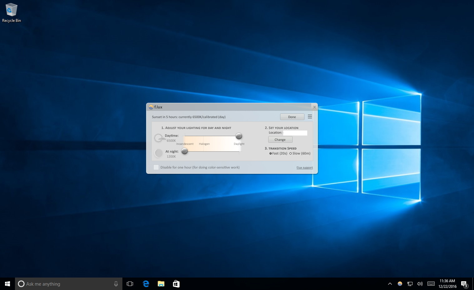 F.lux for Windows 10