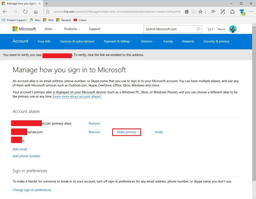 Make primary an alias on a Microsoft account