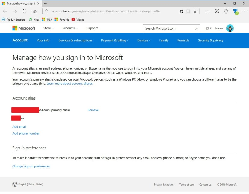 Microsoft account alias settings