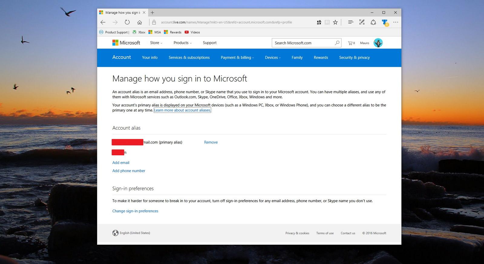Microsoft account alias